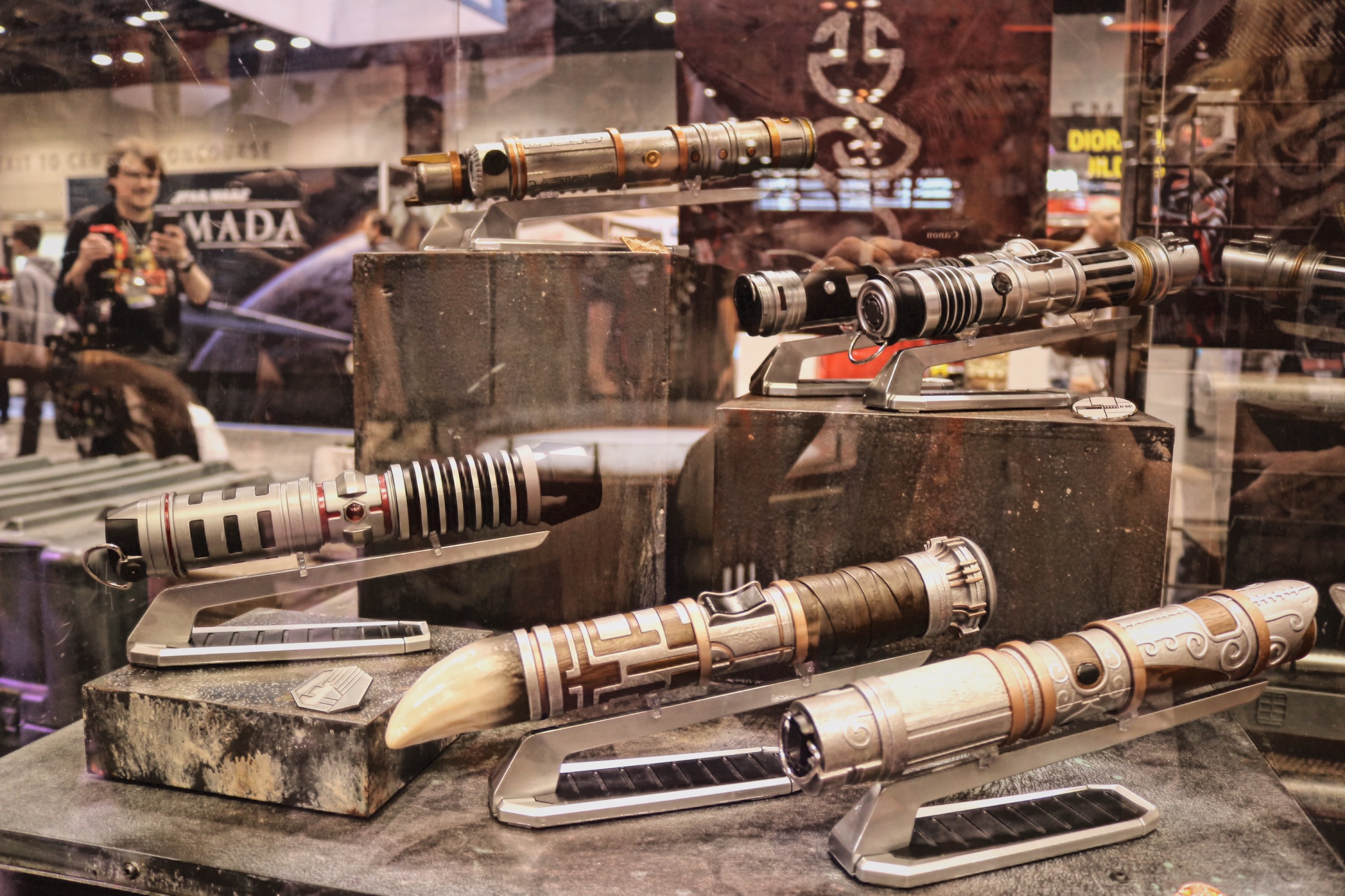 Depending on your chosen path, one of these custom lightsabers can be yours.