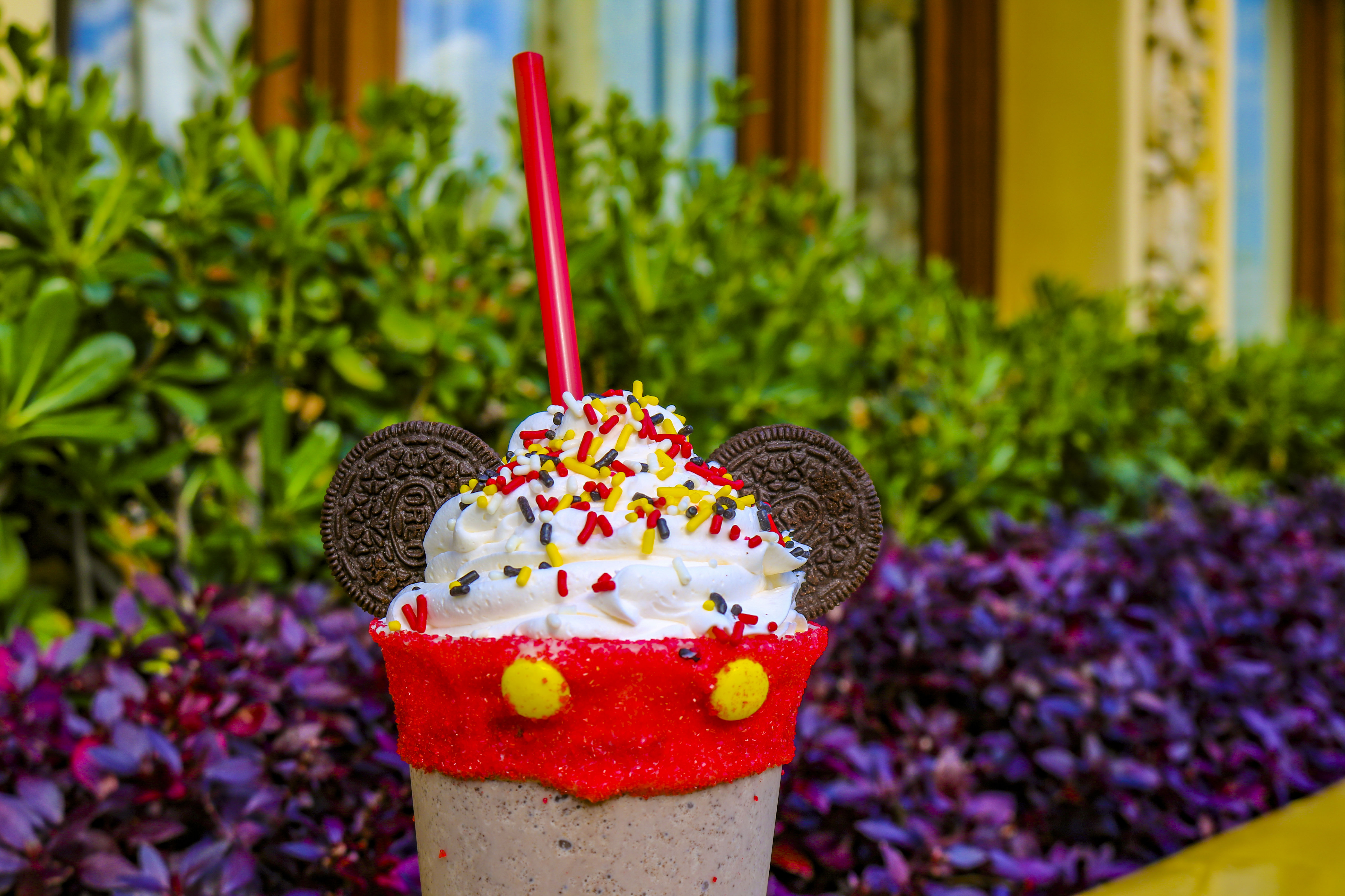 This shake features Mickey sprinkles, oreo mouse ears, and plenty of whip cream!