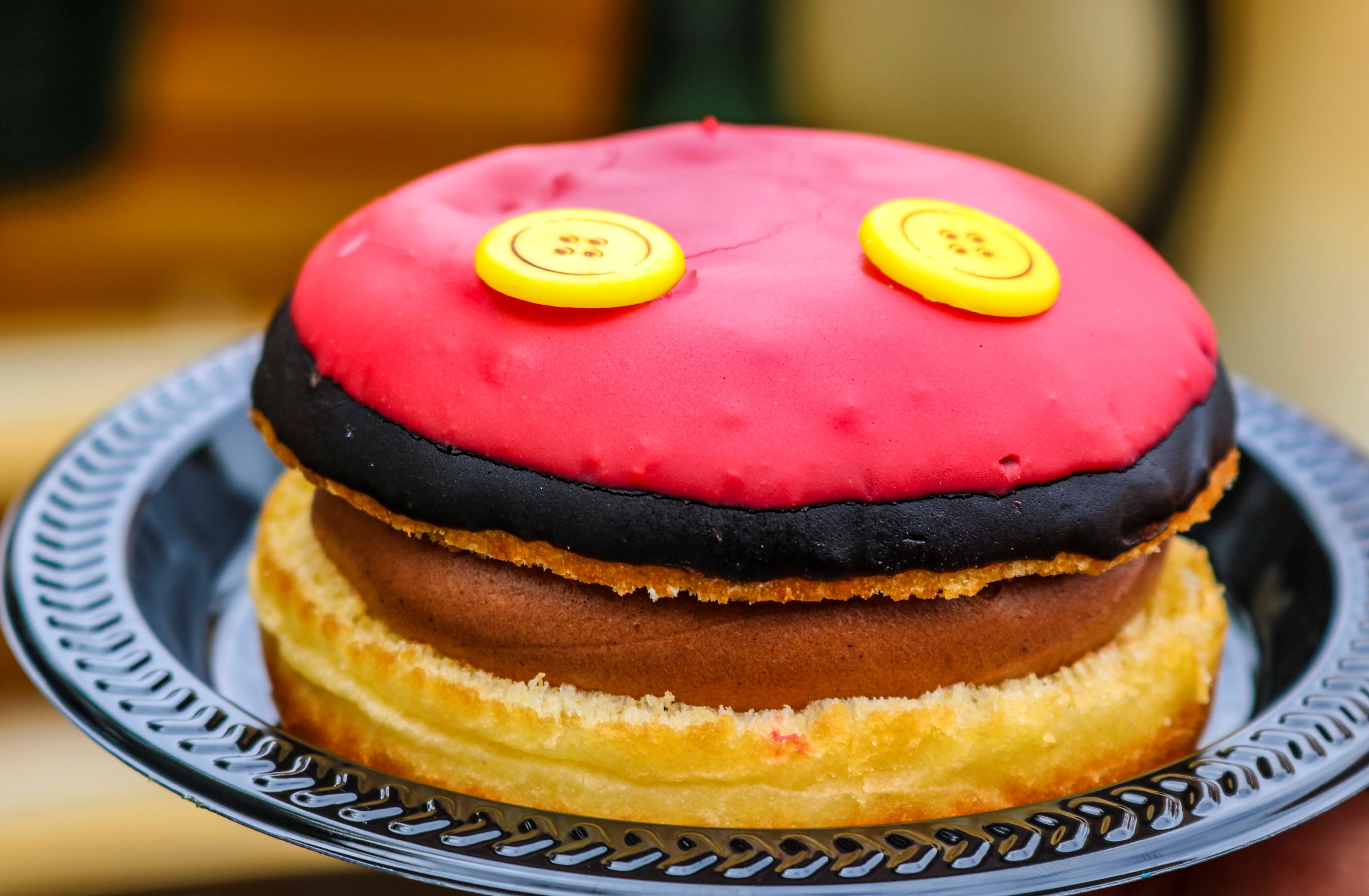 Oh boy! Check out this delicious Mickey Mouse premium doughnut at Jolly Holiday Bakery in Disneyland Park.