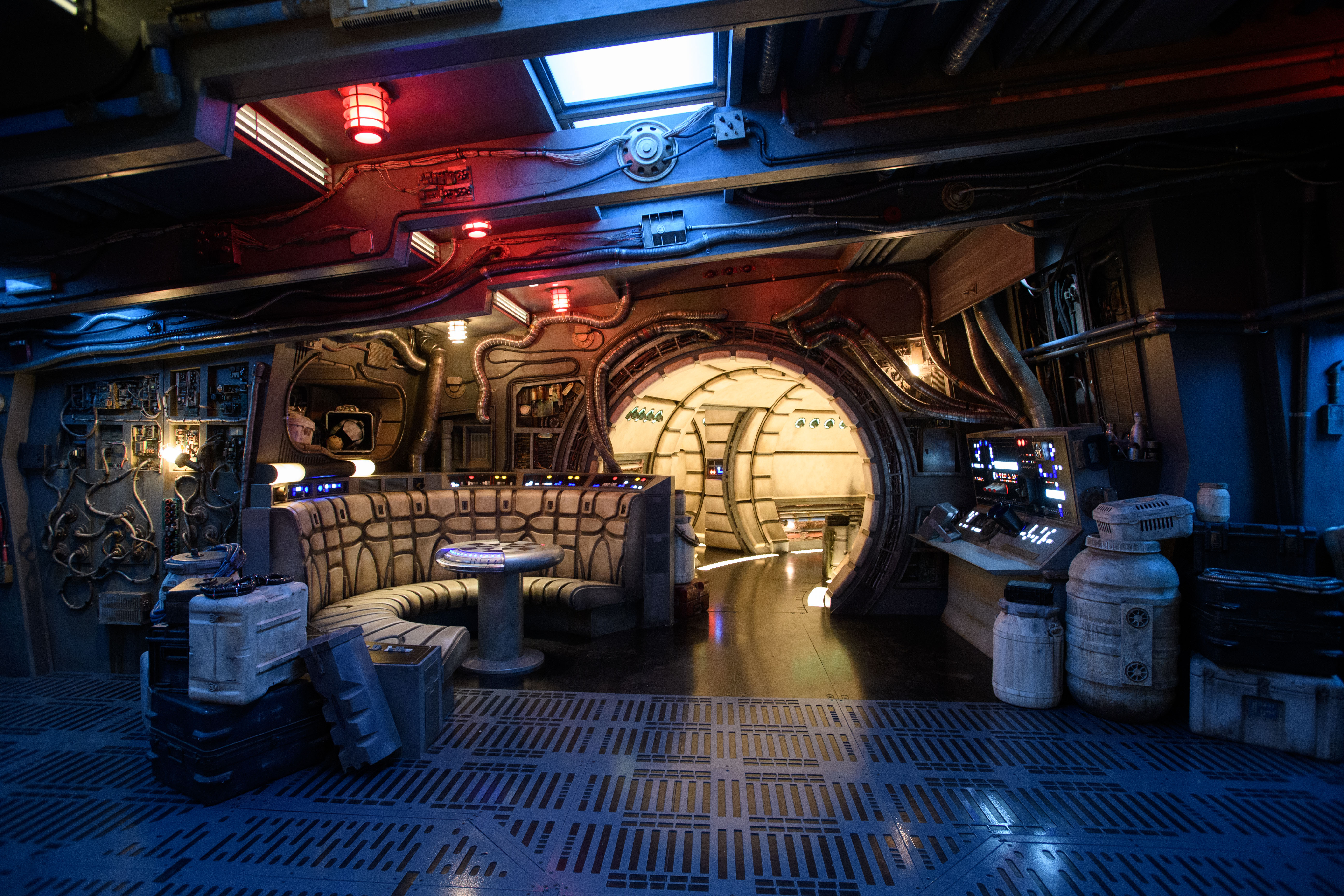 The famous main hold lounge is one of several areas guests will discover inside Millennium Falcon: Smugglers Run before taking the controls in one of three unique and critical roles aboard the fastest ship in the galaxy at Star Wars: Galaxy's Edge at Disneyland Park in Anaheim, California, and at Disney's Hollywood Studios in Lake Buena Vista, Florida. (Richard Harbaugh/Disney Parks)